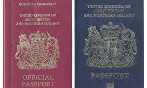 Burgundy and blue UK passports