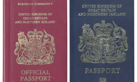 Composite image of the burgundy and blue UK passports