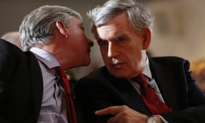 Gordon Brown, the Labour former prime minister, with Richard Leonard, the Scottish Labour leader, at an election campaign rally at the Lighthouse, Glasgow, this morning.