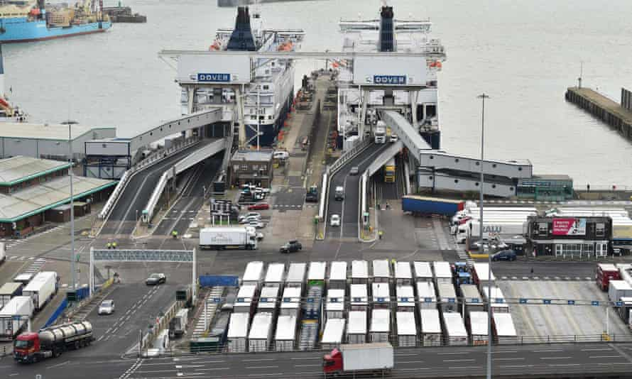 Lorries are parked waiting to be loaded at Dover