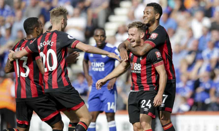 Ryan Fraser celebrates scoring the second goal for Bournemouth against Leicester.