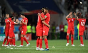 Harry Kane and Ruben Loftus-Cheek embrace at the end of the game.