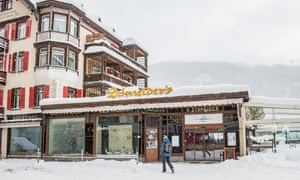 A restaurant in snow-covered Davos