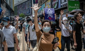 Hong Kong police fired teargas and pepper spray onto demonstrators after thousands took to the streets in Causeway Bay protesting against Beijing's declaration that it intends to impose national security laws
