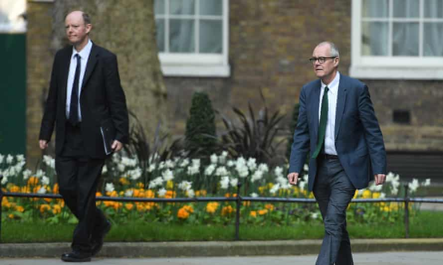 The chief medical officer, Prof Chris Whitty (left) and the chief scientific officer, Sir Patrick Vallance arrive at 10 Downing Street.