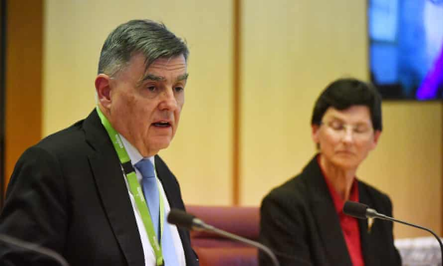 Prof Brendan Murphy and Aged Care Quality and Safety Commissioner Janet Anderson appear at Australia's Senate Covid inquiry on Tuesday.