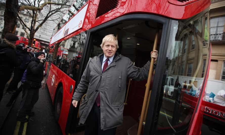 Former mayor of London Boris Johnson marks the arrival of the first New Routemaster in 2012.