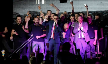 """Gavin McInnes speaks on stage with members of the Proud Boys organisation at the """"A Night for Freedom"""" event in New York, US, 20 January 2018."""