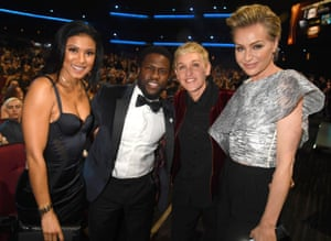 Eniko Parrish, Kevin Hart, Ellen DeGeneres, and Portia de Rossi