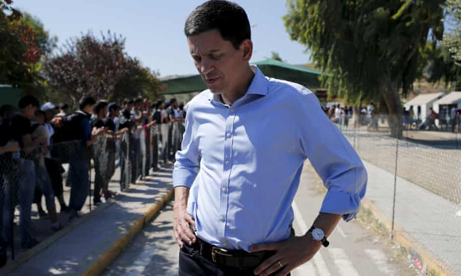 International Rescue Committee head David Miliband at a refugee camp for Syrians on the Greek island of Lesbos.