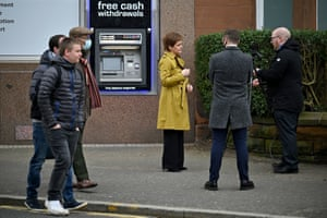 Nicola Sturgeon giving a media interview on a visit to in Rutherglen today.
