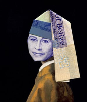 Queen Elizabeth II as Girl with a pearl. earring illustrated using banknote origami by Japanese illustrator Yosuke Hasegawa.