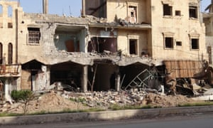 A view of damaged shops in Deir ez-Zor, taken in April 2014.