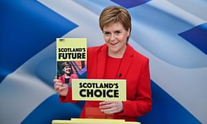 Scotland's first minister and leader of the SNP, Nicola Sturgeon, launches the party's election manifesto.