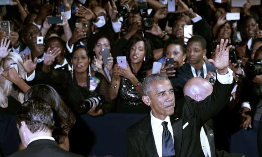 Barack Obama waves at the Congressional Black Caucus Foundation legislative conference.