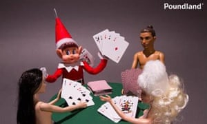 Toy elf playing strip poker with Barbie and friends