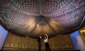 V&A staff inside a tent owned by the 18th-century Indian ruler of Mysore, Tipu Sultan, on show at the Fabric of India exhibition