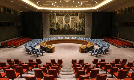 The security council chamber at the UN headquarters in New York.