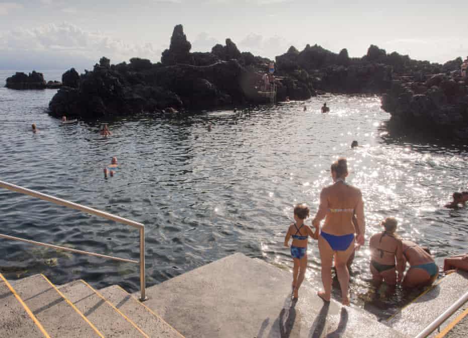 Poca das Frades, a natural ocean swimming pool in Velas, Sao Jorge Island, Azores