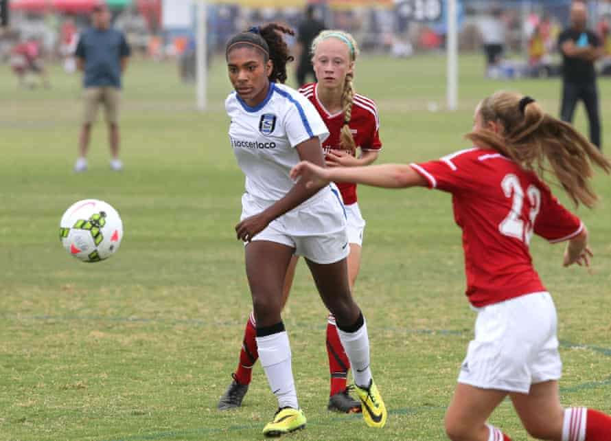 San Diego Surf's Catarina Macario in action against FC United at the Surf Cup youth soccer tournament in July 2014.