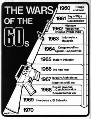 Gemini News Service graphic showing the wars of the 1960s, c1969. This graphic featured in a series of special articles produced by Gemini to mark the end of the 1960s. (Archive ref: GEM/4/1/2/1)