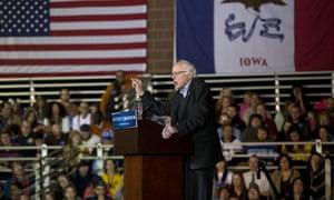 Bernie Sanders addresses supporters in Des Moines, Iowa, last week.