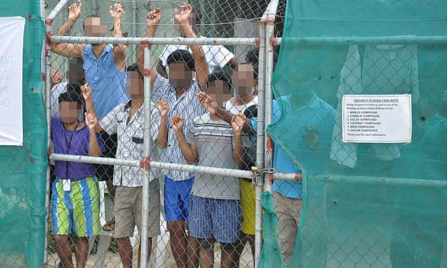 Asylum seekers at the Manus Island detention centre, Papua New Guinea.