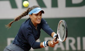 Monica Puig of Puerto Rico in defeat against Sara Errani of Italy.