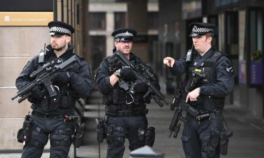 Armed police at the Houses of Parliament following the attack of 22 March