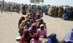 Nigerian refugees at a camp in Dikwa earlier this month.