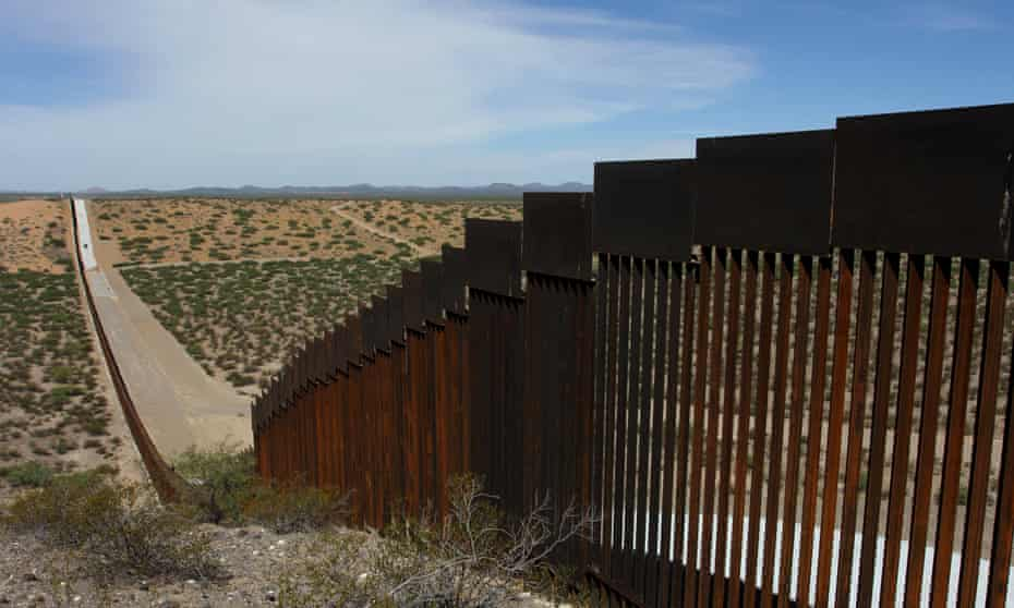 A portion of the US-Mexico border seen from Chihuahua State in Mexico, some 100 km from the city of Ciudad Juarez