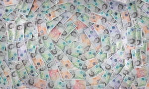 A pile of UK bank notes