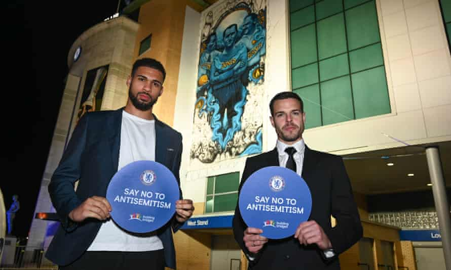 Chelsea players Ruben Loftus-Cheek (left, now on loan at Fulham) and César Azpilicueta after Chelsea's signing up to the IHRA definition in January this year.