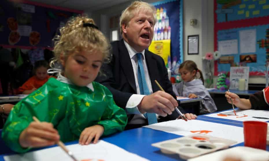 Boris Johnson at a school in Buckinghamshire in 2019.