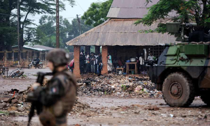 French soldiers patrol in Bangui, Central African Republic.