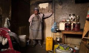 Sibongile Mhlongo in her home in an abandoned house in Soper Street, Berea, central Johannesburg