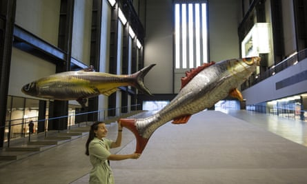 A Tate employee with part of Philippe Parreno's 'Anywhen' installation.