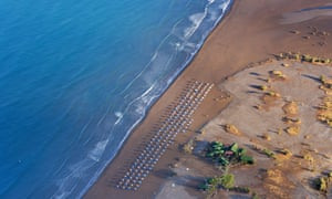 Aerial shot of Iztuzu beach in Dalyan, Turkey, at first light.