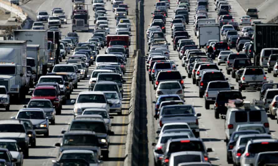 An early evening traffic jam on an LA freeway.