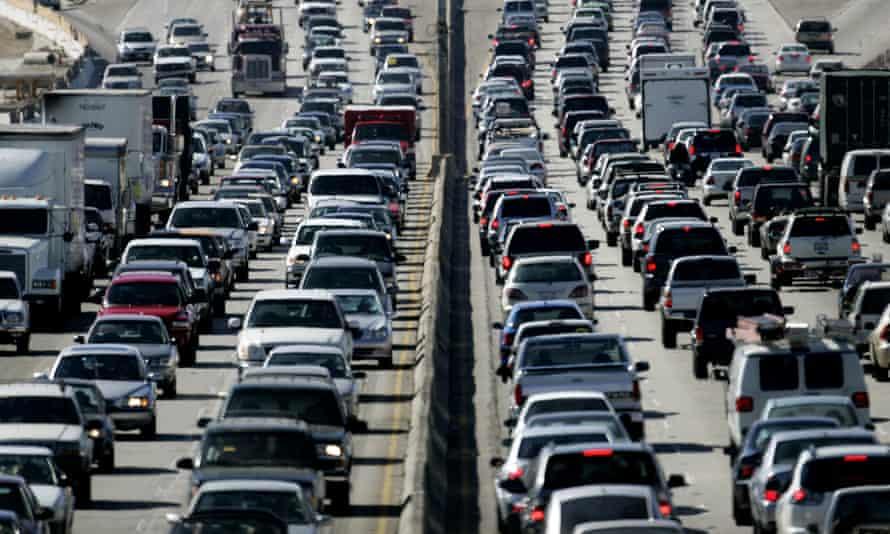Traffic on a Los Angeles freeway