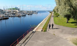 People walking alongside the marina, Pirita,