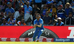 India's Yuzvendra Chahal catches out Afghanistan's Rahmat Shah.