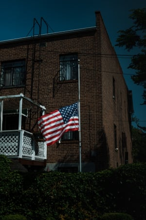A lowered flag in Elmhurst, Queens.