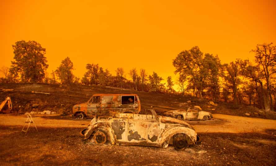 Burned vehicles during the Carr fire near Redding, California, on July 2018.