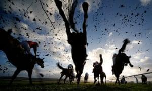 Action over fences at Taunton Racecourse.