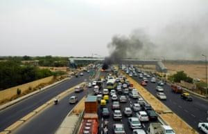 Traffic accident in Delhi.