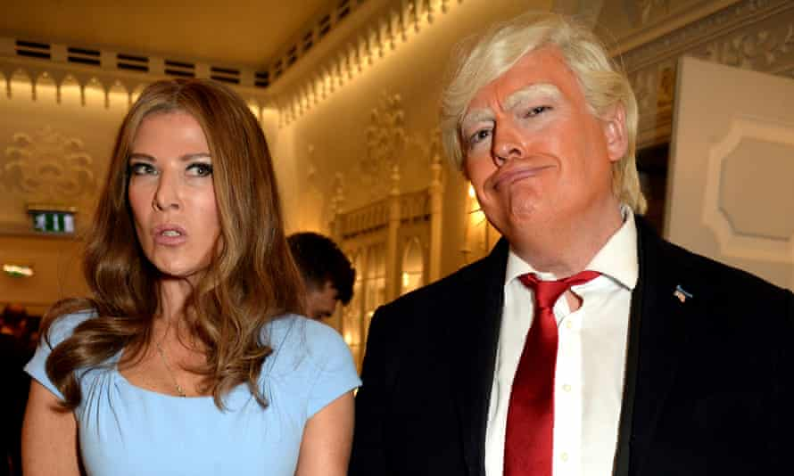 Ronni Ancona and Lewis MacLeod in character as Melania and Donald Trump.
