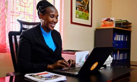 Edith Murogo in her office in Githurai outside Nairobi.