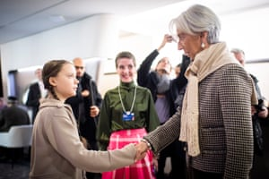 Swedish climate activist Greta Thunberg (L), 16, meets with Christine Lagarde, Managing Director of the International Monetary Fund (IMF).