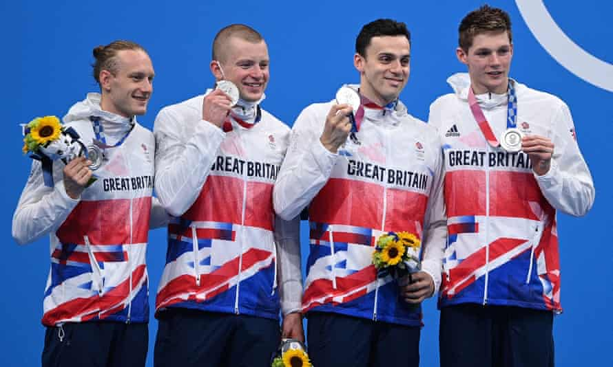Luke Greenbank, Adam Peaty, James Guy and Duncan Scott pose with their silver medals after the final of the men's 4x100m medley relay